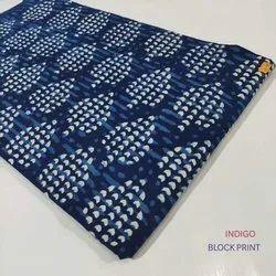 Indigo Block Print Blue Color Cotton Fabric Running