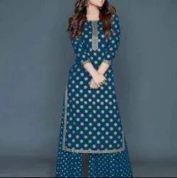 Blue Cotton Fabric Suit For Women
