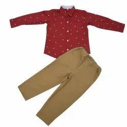 Cotton Party Wear Boys Printed Shirt Jeans Set