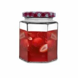 Croco Hexagon Glass Jar and Container With Rust Proof Air Tight Strip Lid