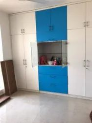 Altera Interior White And Blue Bedroom Wooden Wardrobe, For Home,Hotel