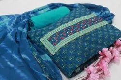 Blue Printed Cotton Fabric Suit
