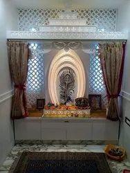 Pooja Ghar Interior Design, Work Provided: False Ceiling/POP