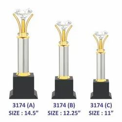 Crystal Diamond Metal Trophy