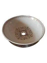 Printed White Round Shape Table Top Wash Basin, For Bathroom