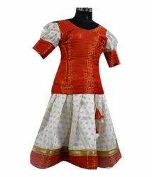 Orange and White Girls Synthetic Ethnic Wear