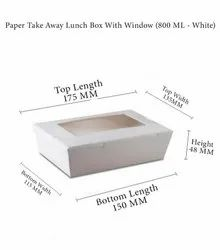 Paperboard White Paper Take Away Lunch Box With Window