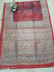 6.3 m (with blouse piece) Printed TUSSAR SILK HANDLOOM SARI-HANDBRUSH