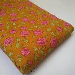 Printed Hand Block Orange Cotton Fabric