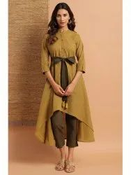 Janasya Women's Green Cotton Kurta(J0155)