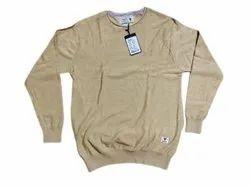 Beige Round Neck Mens Cotton Pullover Sweater, Size: Medium