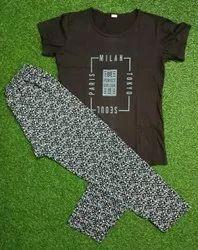 Cotton Ladies Printed Night Suit, T-Shirt, Pant