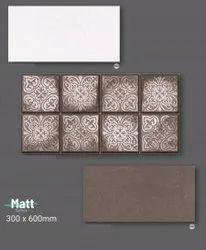 Ceramic Rectangular Matt Digital Print Wall Tile, Size: 300x600mm, Thickness: 8mm