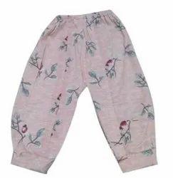 Light Pink Hosiery Kids Printed Capri, Size: Medium
