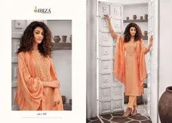 Embroidered Long Straight Designer Suit