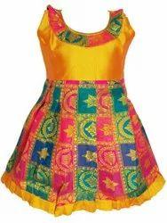 Party Wear Girl Pick & Pick Silk Frock, Age Group: 0-3