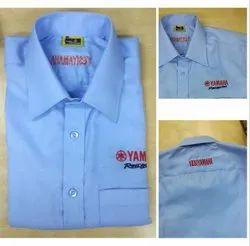 Collar Neck Mens Blue Plain Cotton Shirt, Handwash