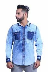 Producer Plain Mens Sky Blue Casual Denim Shirt, Size: Small