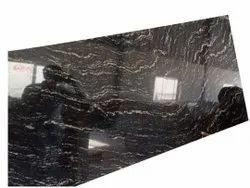 Polished Pan India Rectangle Fish Black Granites Slabs, For Flooring, Thickness: 17 mm
