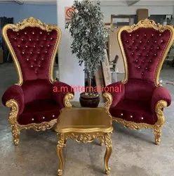 Teak Wood Cushion Wooden High Back Chair, Size: Standard