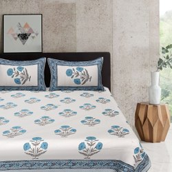 Hand Block Cotton Double Bed Sheets