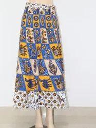 Cotton Jaipuri Print White Multi Wrap Around Skirt