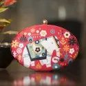 Printed Oval Fabric Clutch