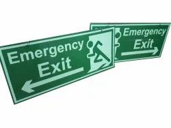 Rectangular Green Emergency Exit Sign Board, For Safety Purpose, Dimension: 30x60 Cm
