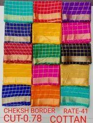 Cheksh Border Silk Blouse Piece