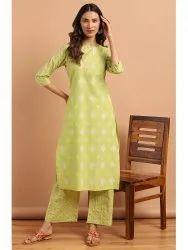 Janasya Women's Green Cotton Kurta With Palazzo(SET270)