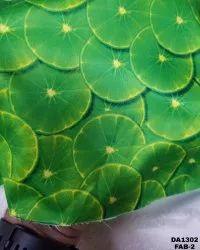 Lemon Print Floral Satin Silk Digital Print Fabric