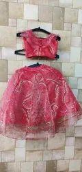 Embroidered Kids Red Lehenga Choli