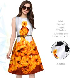 Ladies Yellow Floral Print Skater Dress