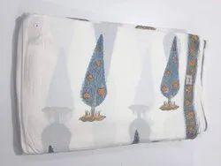 White Pure Cotton Hand Block Fabric