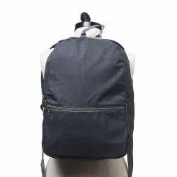 Black Polyester Backpack Dark Grey