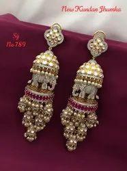 Silver Kundan Brass Jhumka Earrings