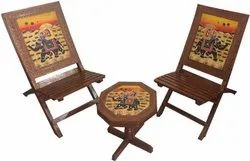 Brown Handmade Wooden Folding Chairs And Table, Finish: Polished