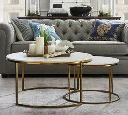 Decorative Round Metal Coffee Table Set In Gold Electro-plated Finish With White Marble Top