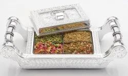 Stainless Steel Dry Fruit Serving Tray, Size: 6x12inch
