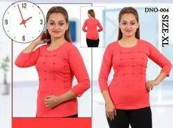 Ladies Red Round Neck Rayon Top