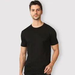 Round Half Sleeve Mens Plain Cotton T Shirt, Size: S TO XXL