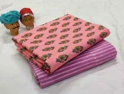 Printed Pink Cotton Fabric Suit