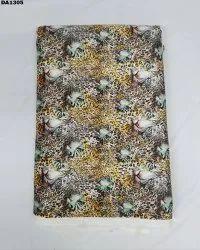 Tiger Theme Flora Satin Silk Digital Print Fabric