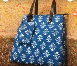 Printed Blue Cotton Hand Bag
