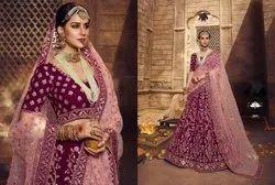 Wine Pink Georgette Bridal Lehenga Choli With Resham And Jari Embroidery