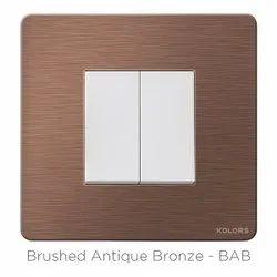 Kolors Kredo Solid Aluminium Brushed Antique Bronze Switch Frame, Module Size: 2 Module