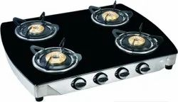 Stainless Steel 4 Burner Gas Stove, For Kitchen