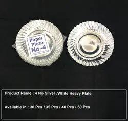 Round Plain 4 No Silver Heavy Paper Plate