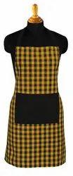Women Checkered Cooking Cotton Apron, Single Pocket, Size: 65x80cm