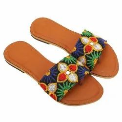 Party Wear Embroidered Flower Open Toe Ladies Flat Sandal, For Footwear, Size: 7